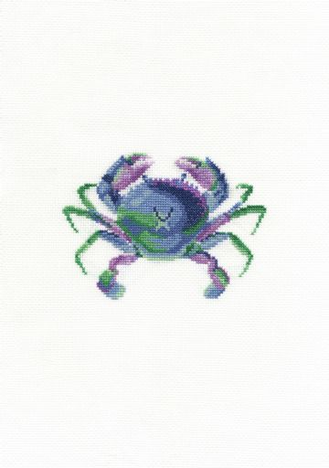 Colourful Crab Cross Stitch Kit with Hoop- BK1873